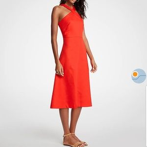 NWT Ann Taylor 4P Cross Neck Halter Midi Dress